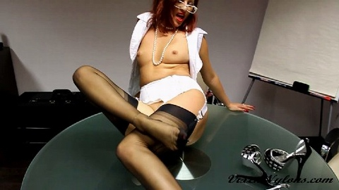 Vixen Nylons free video Sexy redhead office lady gives a hot blowjob and nylon feet footjob