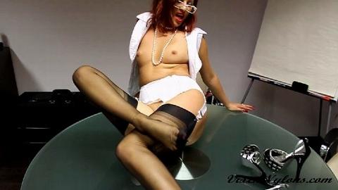 Vixen Nylons free video Sexy redhead office lady gives a hot blowjob and nylon feet footjob