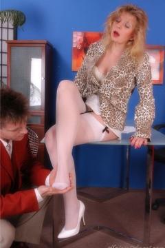 White nylon stockings footjob office sex Nylon Angel Lovette