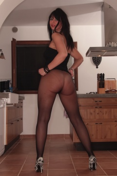 upskirt black short dress pantyhose tease Desyra Noir busty Milf