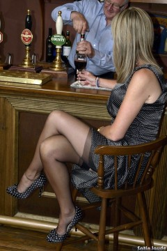 Nylon stockings tops in a bar Sexy UK wife Satin Jayde nylon clad legs and feet tease