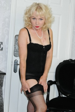 Mature black nylon stockings and girdle strip - Nylon Sue blonde stockings milf