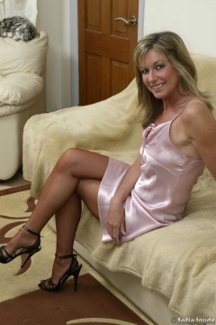 Sexy wife in silk slip and stockings Satin Jayde milf hot legs and feet in heels tease