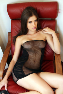 Hot young babe in see-through dress perky tits tight pussy brunette Little Caprice