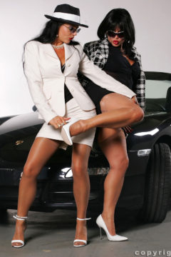 Two milf in lingerie and nylon stockings Amanda and Nylon Model Eve by a car