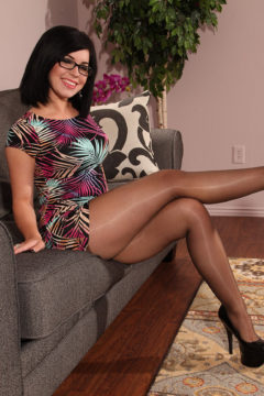 JB Video presents Belle Noire in sheer shiny pantyhose strips naked and masturbates her pussy