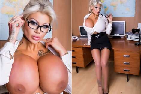 Office lady secretary huge boobs and stockings tease Candy Charms xxx