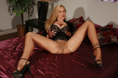 Big tits blonde Julia Ann shiny pantyhose pussy tease JB Video