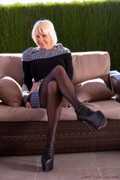 wearing pullover and pantyhose sexy blonde erotic pictures Jan Burton