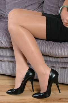 Stiletto Girl Caris silk stocking shiny heels