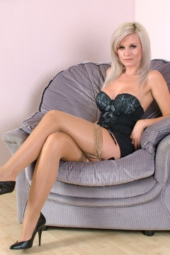 Shiny stockings tease sexy legs and feet in heels blonde stiletto girl Caris