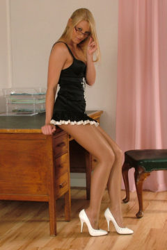 Blonde secretary Stiletto girl alexis in shiny pantyhose and white stilettos high heels