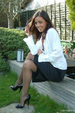 Sexy outdoor stiptease secretary stockings heels lingerie Stiletto girl Fifi
