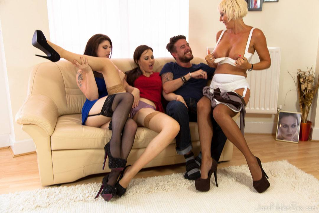 Pantyhose group sex