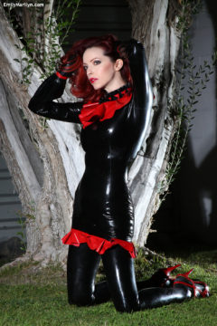 Black latex dress and latex stockings no panties tease Emily Marilyn