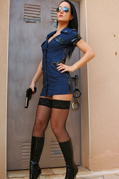 Fetish Liza sexy milf in police uniform with stockings and boots