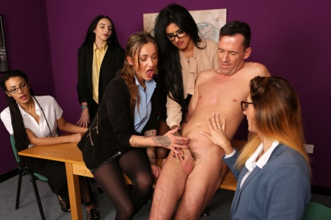 Stockings office girls handjob tease action with huge cumshot Pure CFNM video