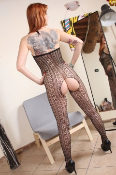 Redhead girl in crotchless pantyhose bodystocking Irina Vega @ NylonUP