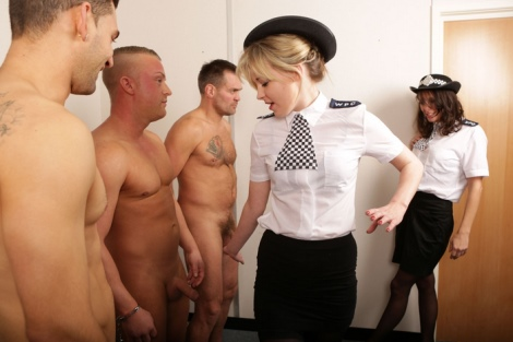 Stockings Policewomen blowjob and handjob with facial PureCFNM video