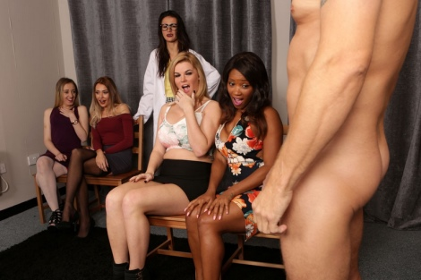 Cumshot competition lingerie tease vs. handjob video by CFNM