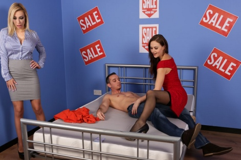 Hot young stocking girl public sex bed in furniture store Pure CFNM video