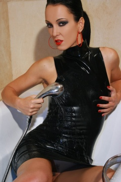 Tight black latex dress wet skin in shower Fetish Liza
