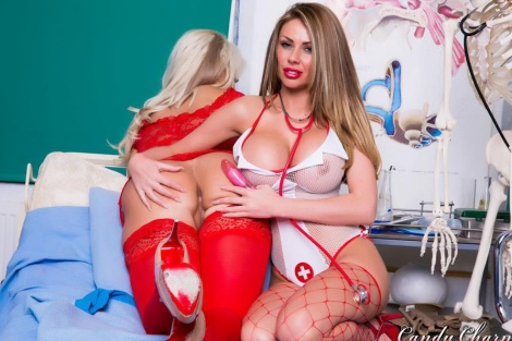 Ree Petra big tits nurse in lesbian action with Candy Charms