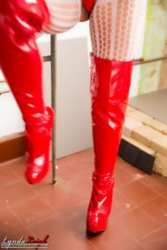 latex boots Red
