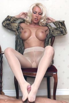 Leggy Lana pantyhose footjob videos Hot nylon feet cock tease