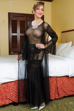 Roni shows her ass, tits in black sheer dress, sexy legs in nylons Ronis Paradise 2017
