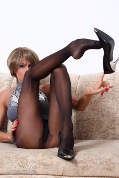 Lily Wow riding fucking hard cock in black pantyhose
