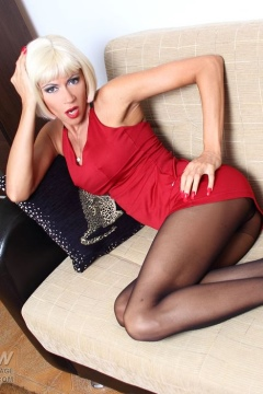 Lily Wow hardcore sex pics Sexy in red dress and pantyhose