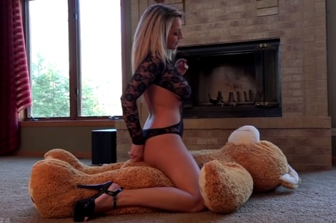 Nikki Sims videos hot girl teasing riding teddy bear