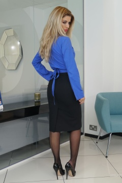 Beautiful KATHRYN stiletto girl sexy secretary skirt seamed stockings heels