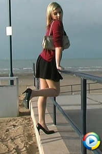 Stiletto girl video Naomi shows her legs in seamed nylons and stiletto heels at a beach