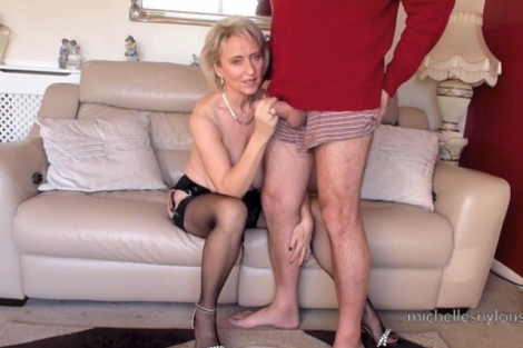 Michelles Nylons video Blonde wife jerks off husbands cock cumshot on her tits