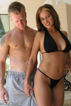 Hot wife Rio mature milf housewife sucks a boys hard cock in a pool