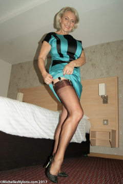 Michelle in black nylons satin dress upskirt pussy Michelles Nylons