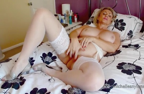 Michelles Nylons video Big tits wife white stockings pussy masturbation