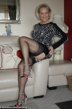 Blonde mature Michelle luxury dress black nylons stockings clad legs wife