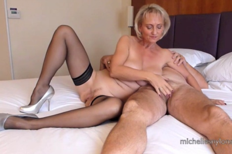 Michelles Nylons video wife black stockings silver heels cock tease