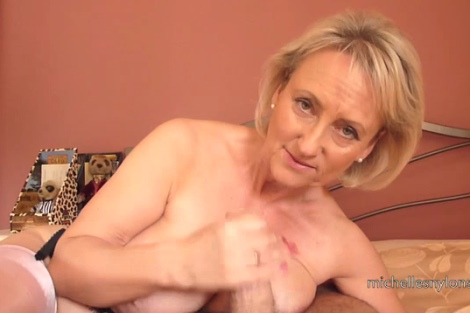 Michelles Nylons video handjob cumshot wife in shiny nylon stockings