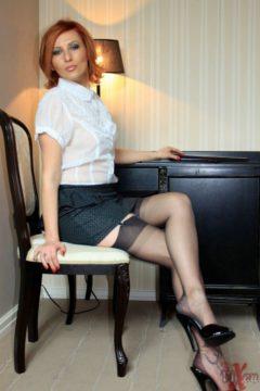 Secretary flashing nylon legs upskirt pussy Vixen Nylons