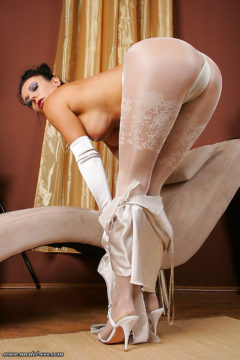 Hot ass in shiny pantyhose Model Eve sexy in luxury white tights
