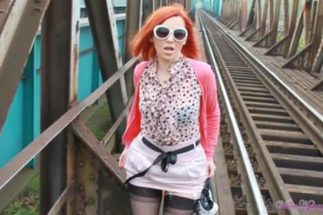 Video Redhead in shor skirt and nylons mastubartes pussy outdoors Vixen Nylons