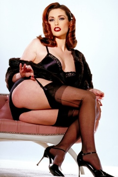 Aimee Sweet redhead pin-up girl sexy lingerie black seamed nylon stockings
