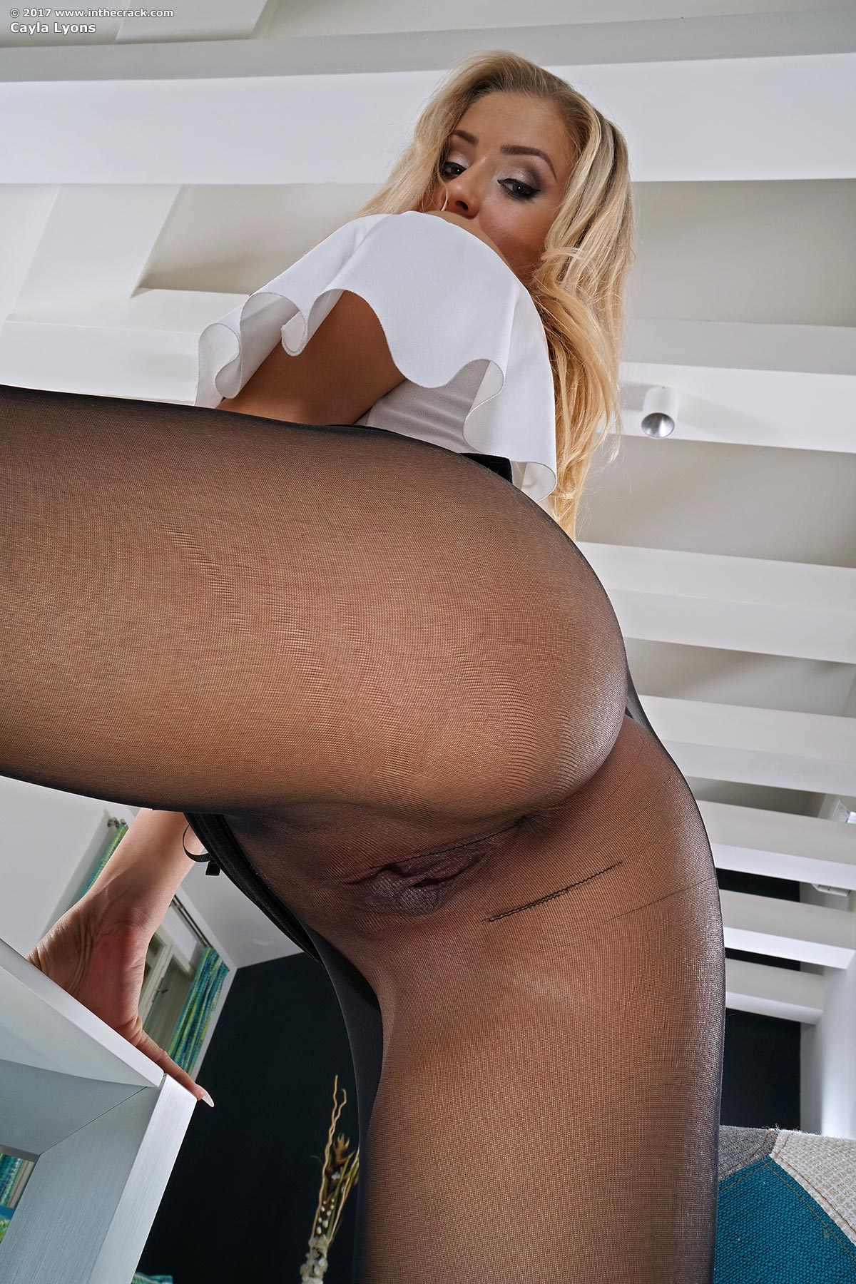 Cayla Lyons hot blonde in black pantyhose InTheCrack pics