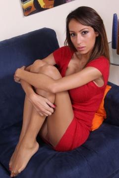 Piedi Velati - Daniela tan pantyhose feet red dress upskirt