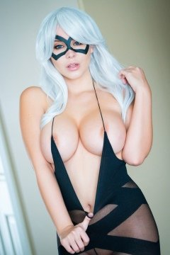 Black crotchless pantyhose bodysuit cosplay girl with big tits