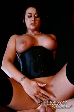Femdom Empire mistress Alexis Grace fucks a slave, hot sex in corset and stockings
